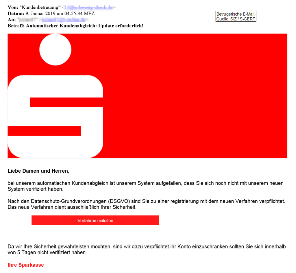 Beispiel Phishing-Mail Sparkasse