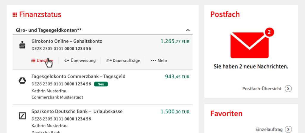 Multibanking Screenshot Online-Banking Sparkasse